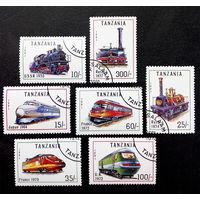 Танзания 1991 г. Поезда. Локомотивы. Железная дорога. Транспорт, полная серия из 7 марок #0024-Т1P6