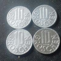 10 грошей, Австрия 1955, 1965, 1974, 1994 г.