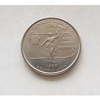 25 центов США 1999 г. штат Пенсильвания D