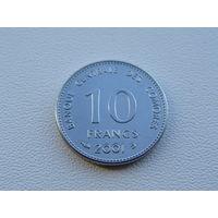 Коморские острова. 10 франков 2001 год  KM#19