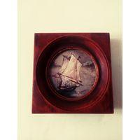 Картина миниатюра масло, рамка дерево винтаж
