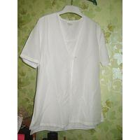 Комплект белые блузка и топик, р. 46-48