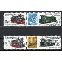 Узкоколейные железные дороги ГДР 1981 год серия из 4-х марок в сцепке с купоном