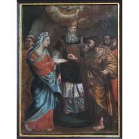 """18век;икона;""""Обручение Девы Марии"""" XVIII век МОСКВА;х/м;34/45,5 см;в киоте"""