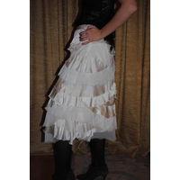 Юбка стильная, женская фирменная LUSSIE, 100% натуральный шёлк, размер 42-44, шикарного цвета Айвори.Италия-МИЛАН!