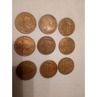 Лот из 9 3-копеечных монет,1926(более редкая),1928-1935!! Старт с рубля! БЕЗ МЦ!!!