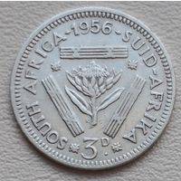 Южная Африка 3 пенса 1956, серебро