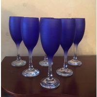 Бокалы Синее стекло 6 штук Италия
