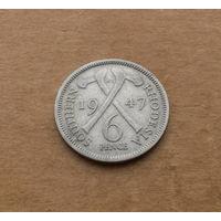 Южная Родезия, 6 пенсов 1947 г., Георг VI (1936-1952)