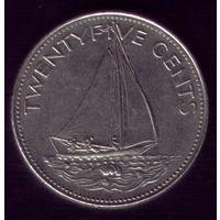25 центов 1997 год Багамские острова