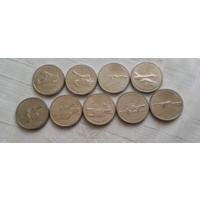 25 рублей 2019 г. Конструкторы оружия. Комплект из 9 монет.
