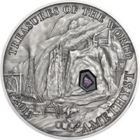 """Палау 5 долларов 2013г. """"Сокровища мира: Аметист"""". Монета в капсуле; сертификат; подарочный бокс; коробка. СЕРЕБРО 25гр."""