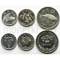 Хорватия 3 монеты 1995 года. FAO