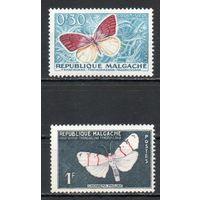 Бабочки  Мадагаскар 1960 год 2 марки