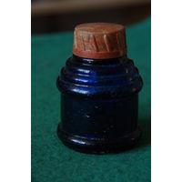 Чернильница  стекло синее  6,5 см