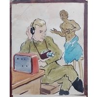 КАРИКАТУРА ЮМОР . СТЕНГАЗЕТА 50-60 года . 22х12 см. карандаш акварель