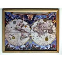 """Панно """"Старинная карта мира и монеты"""". 43х33см."""