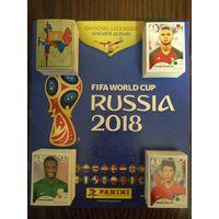 """Полный набор наклеек (682 штуки) + пустой альбом по коллекции """"Panini. World Cup 2018""""."""