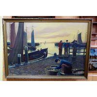 "Картина ""Рыбаки на пристани"" в резной раме.Подпись художника.Масло. Холст. Зап. Европа."