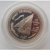 Серебро 0.925!!! Португалия. Золотой век открытий - Нуну Триштан - 100 эскудо 1987 года - полировка PROOF, в капсуле!!! 16,5 грамм, 34 мм в диаметре - KM# 640a - редкая - тираж всего 20 тыс. шт!!!
