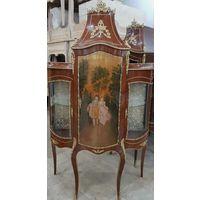 Витрина, Людовик XV, массив орех, бронза, ручная роспись