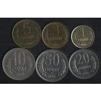 Узбекистан 1,3,5,20,50 тийин 1994 г.,10 сум 2000 г. (*). Сохран!!! Цена за 1 шт.