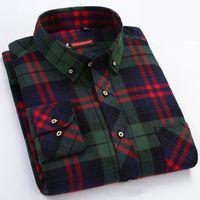 Мужская рубашка клетчатая зеленая  теплая