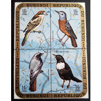 Бурунди 1970 г. Птицы. Фауна, сцепка из 4 марок #0162-Ф1