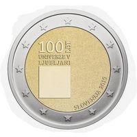 Словения 2 евро 2019 100 лет Люблянского университета UNC