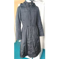 Пальто женское чёрное Vint б/у из плащёвки с утеплителем демисезон 42-44 р-р