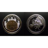 Медаль (Германия) памятная медаль (d-40мм) (серебрение) (proof) вставка – 1 марка 1977 года, золоч.