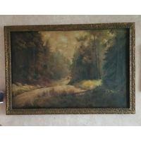Картина старинная холст масло. 130 на 90 см