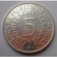 ФРГ. 5 марок 1965 F, Серебро