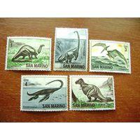 Марки - фауна, Сан-Марино, динозавры, 1965, 5 шт.
