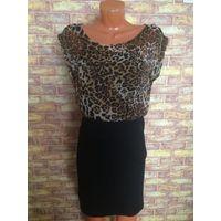 Стильное платье на 42-44 размер, шифоновый верх и трикотажная юбка, под шифоном есть топ.
