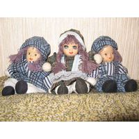 Три коллекционные куколки, смешанная техника.