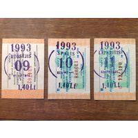 Проездные билеты на автобус (Литовская Республика, сентябрь-ноябрь 1993 г.)