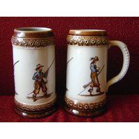 Кружки с изображением мушкетеров. Керамика. Роспись. цена за 2 шт.