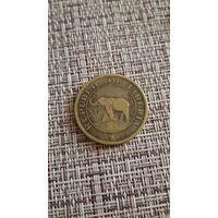 Либерия 2 цента 1937 г ( фауна  , Слон )