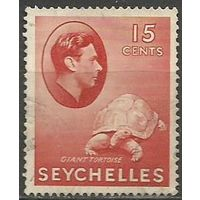 Сейшелы. Король Георг VI. Черепаха. 1938г. Mi#129.