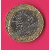 13-12 Франция, 10 франков 1988 г.