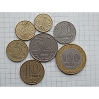 Лот #94: Казахстан: 1 тенге 2000, 2 тенге 2005, 5 тенге 2005, 10 тенге 2000, 20 тенге 2000, 50 тенге 2000, 100 тенге 2004