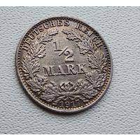 "Германия 1/2 марки, 1917 ""A"" - Берлин 7-10-40"