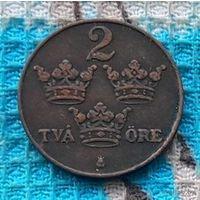 Швеция 2 оре (цента) 1916 года. Три короны. Густав V Адольф. Инвестируй в историю I Мировой войны!