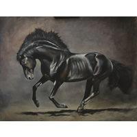 "Масло Холст картина ""Конь"" 110х90см"
