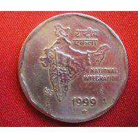 2 Рупии /Индия/ монетный двор Хайдарабад/1999 г.