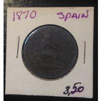 Испания, 10 сентесимо 1870г.