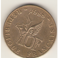 10 франков 1988 г. 100 лет со дня рождения Роланда Гаруса.