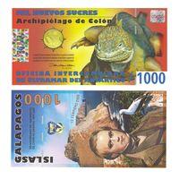 Банкнота Галапагосские о-ва 1000 новых сукре 2009 UNC ПРЕСС полимерная, коллекционная, 200 лет со дня рождения Дарвина