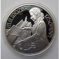 Австрия 100 шиллингов 1991 200 лет со дня смерти Вольфганга Амадея Моцарта. Бургтеатр - серебро 20 гр. 0,900